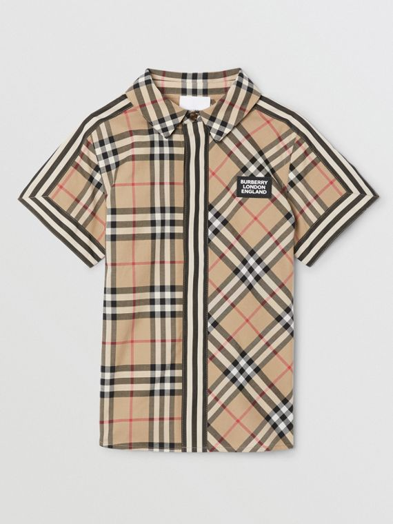Short-sleeve Vintage Check Patchwork Cotton Shirt in Archive Beige