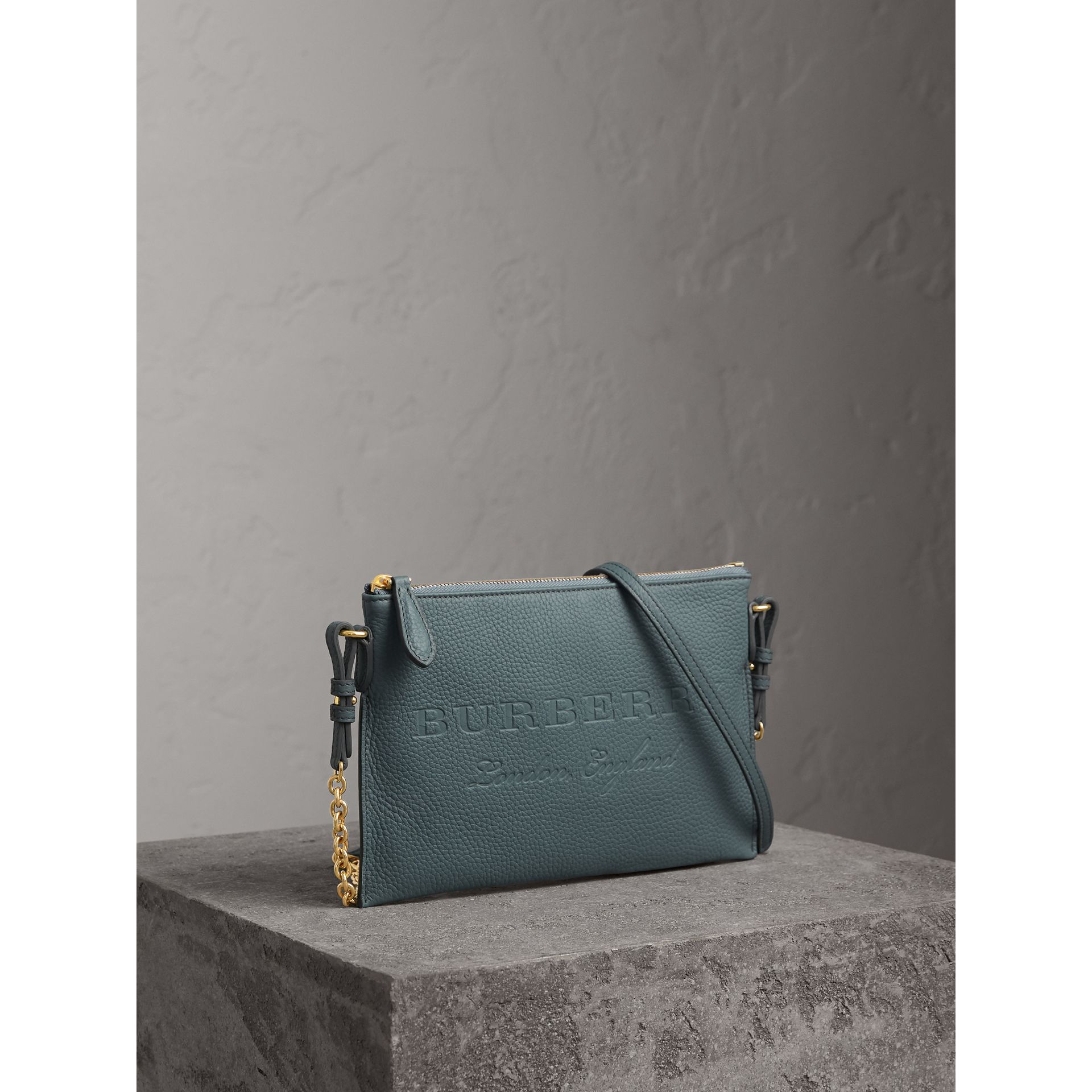 Embossed Leather Clutch Bag in Dusty Teal Blue - Women | Burberry United Kingdom - gallery image 7