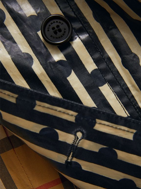 Laminated Spot and Stripe Print Trench Coat in Navy | Burberry United Kingdom - cell image 1