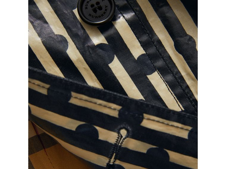 Laminated Spot and Stripe Print Trench Coat in Navy | Burberry Australia - cell image 1