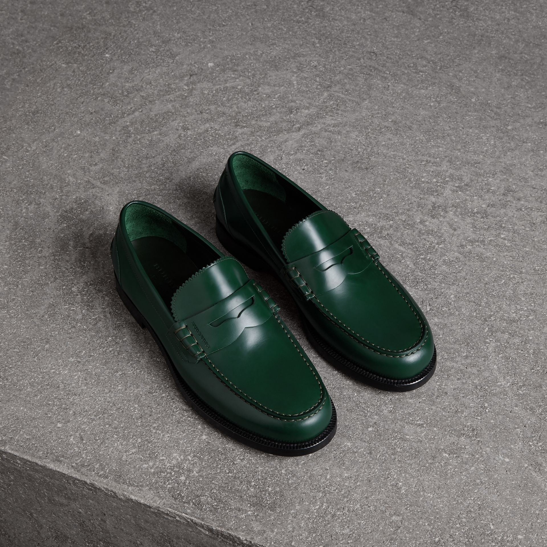Leather Penny Loafers in Bottle Green - Men | Burberry - gallery image 0