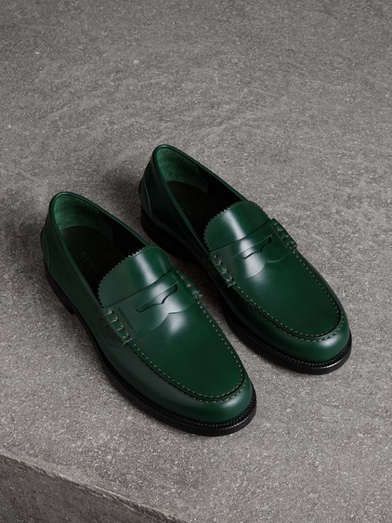 Leather Penny Loafers in Bottle Green