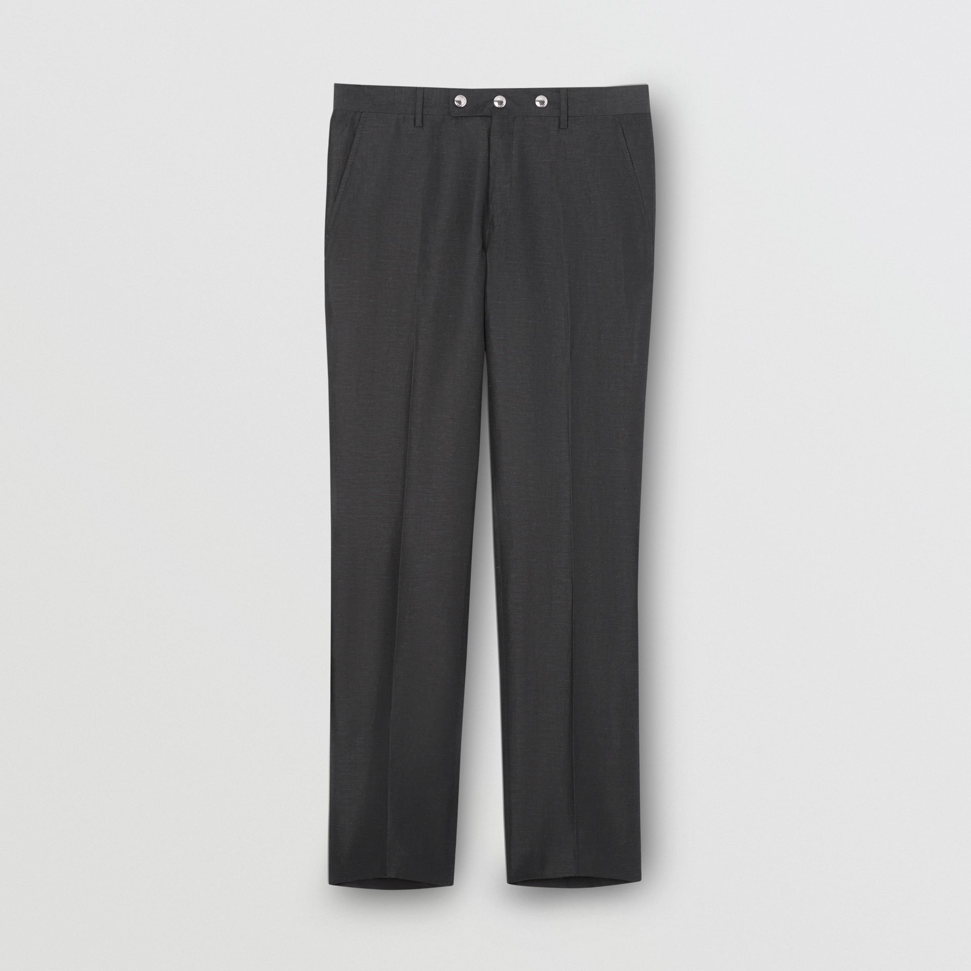 Classic Fit Triple Stud Silk Linen Tailored Trousers in Silver Grey | Burberry United Kingdom - gallery image 3