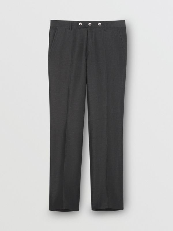 Classic Fit Triple Stud Silk Linen Tailored Trousers in Silver Grey | Burberry - cell image 3