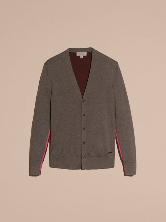 Mink grey Colour Block Cashmere Cotton Cardigan - cell image 3