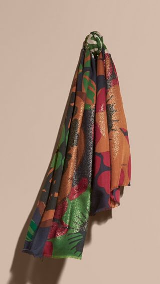 Floral and Gold Foil Lightweight Cashmere Scarf