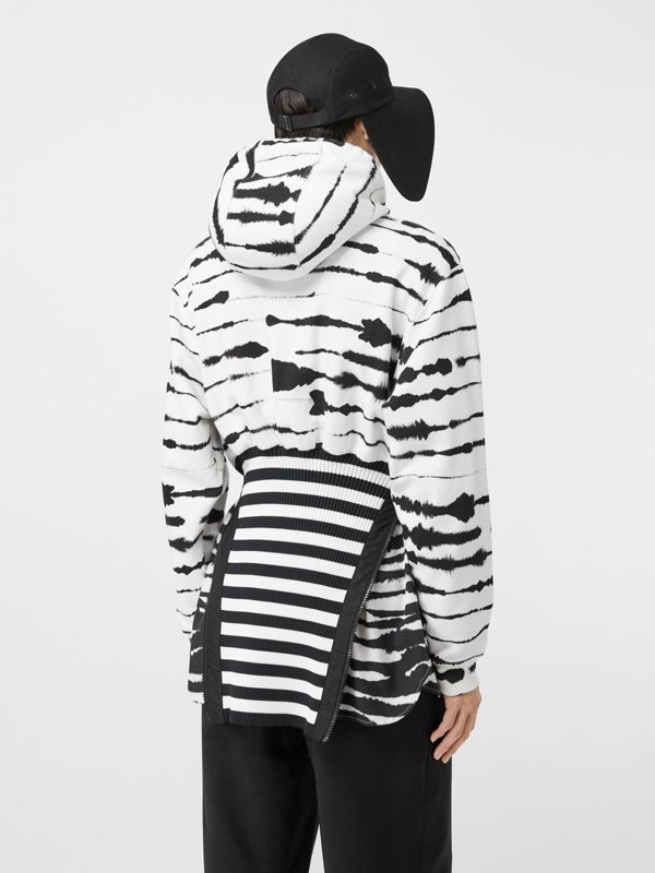 Reconstructed Watercolour Print Cotton Hoodie in Monochrome | Burberry - cell image 2