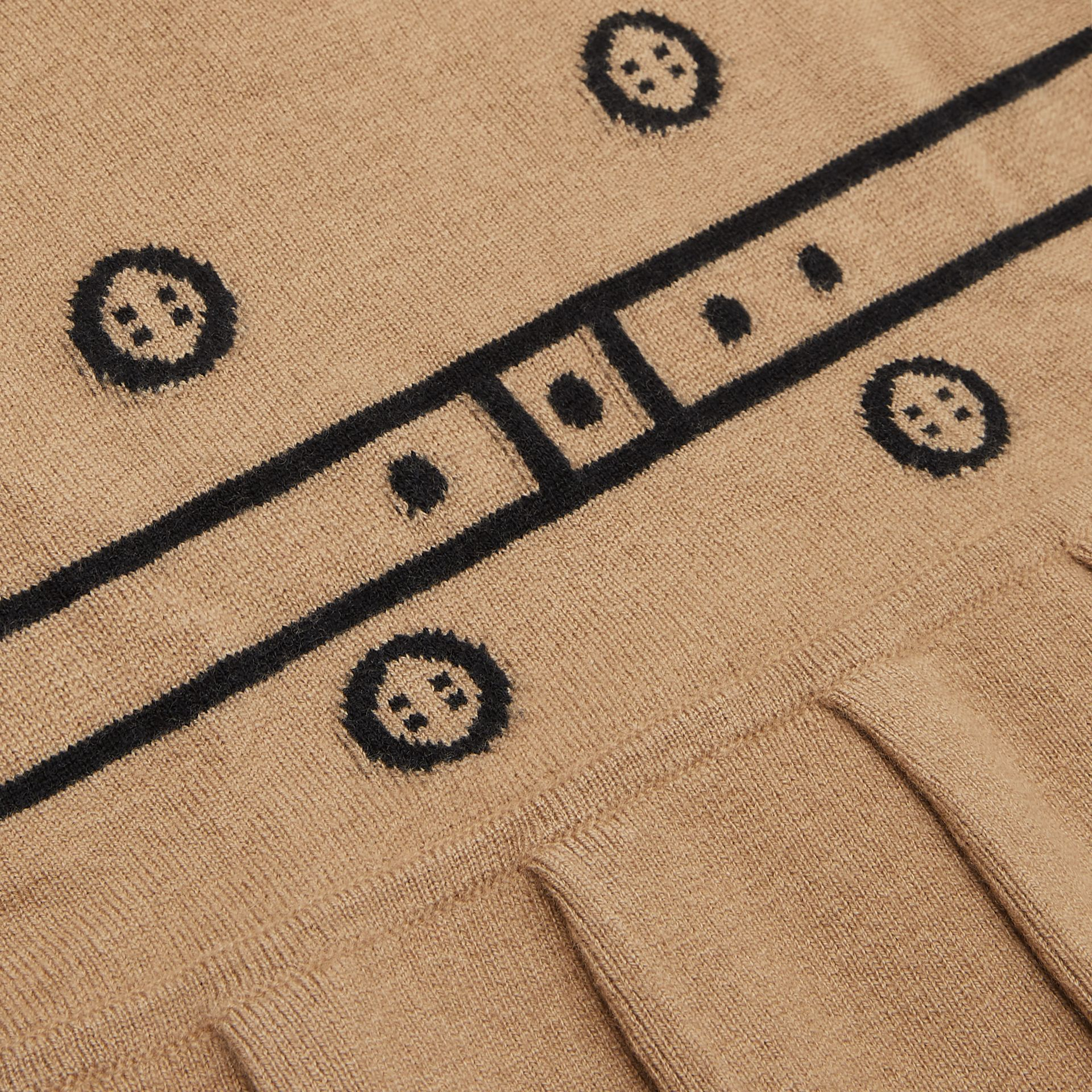 Trompe L'Oeil Intarsia Wool Cashmere Trench Dress in Archive Beige - Children | Burberry United Kingdom - gallery image 1