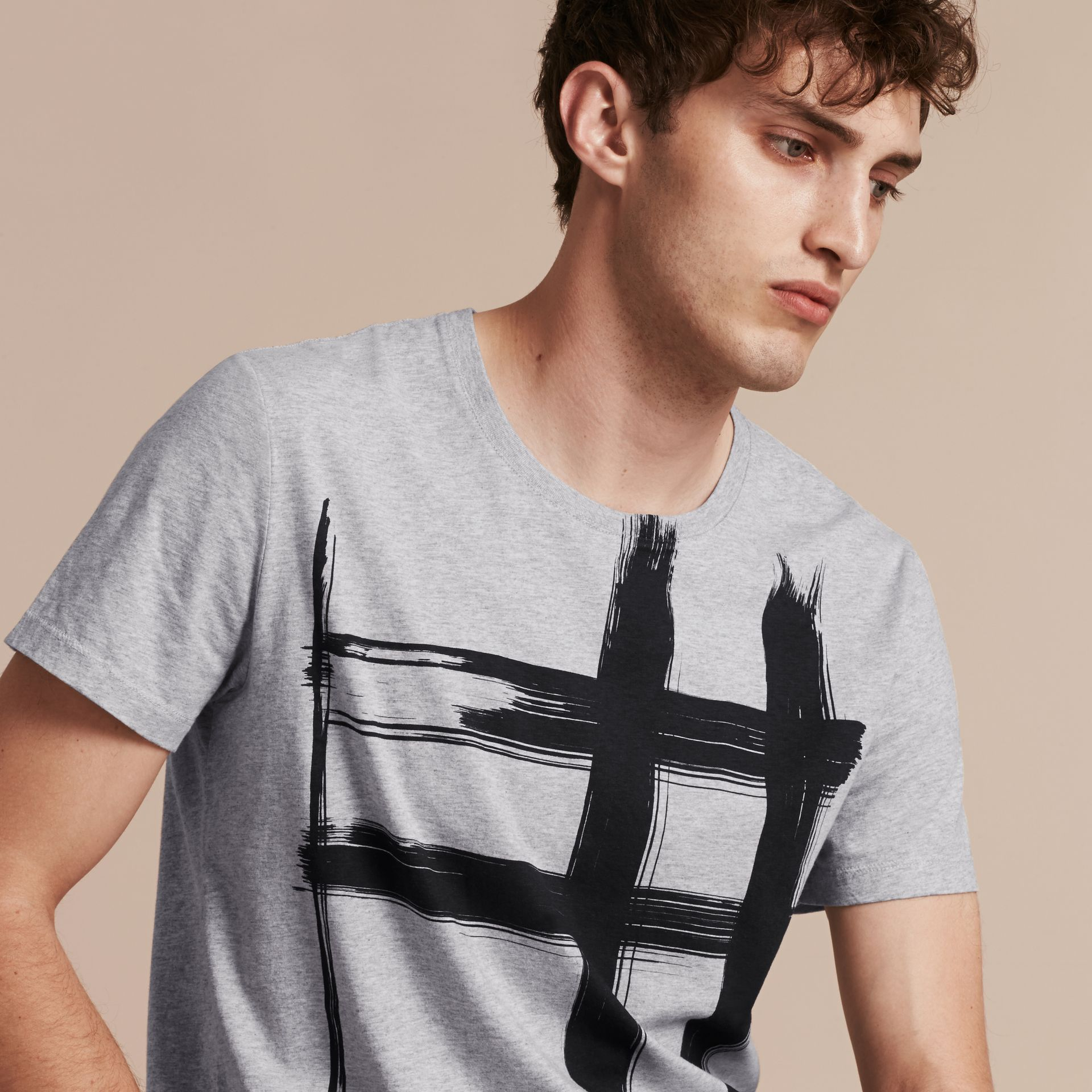 Pale grey melange Brushstroke Check Print Cotton T-Shirt Pale Grey Melange - gallery image 6