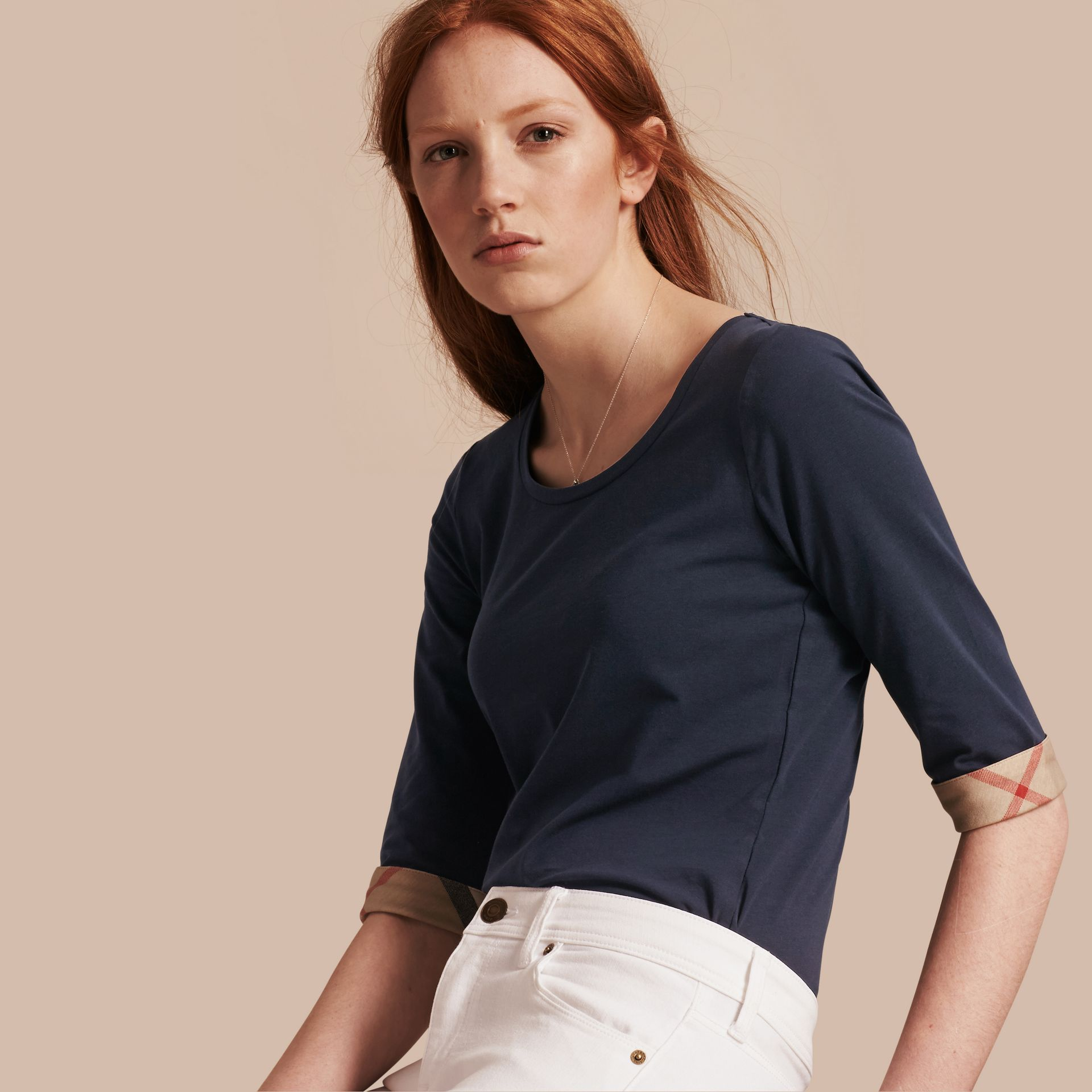 Check Cuff Stretch-Cotton Top in Navy - Women | Burberry Canada - gallery image 1