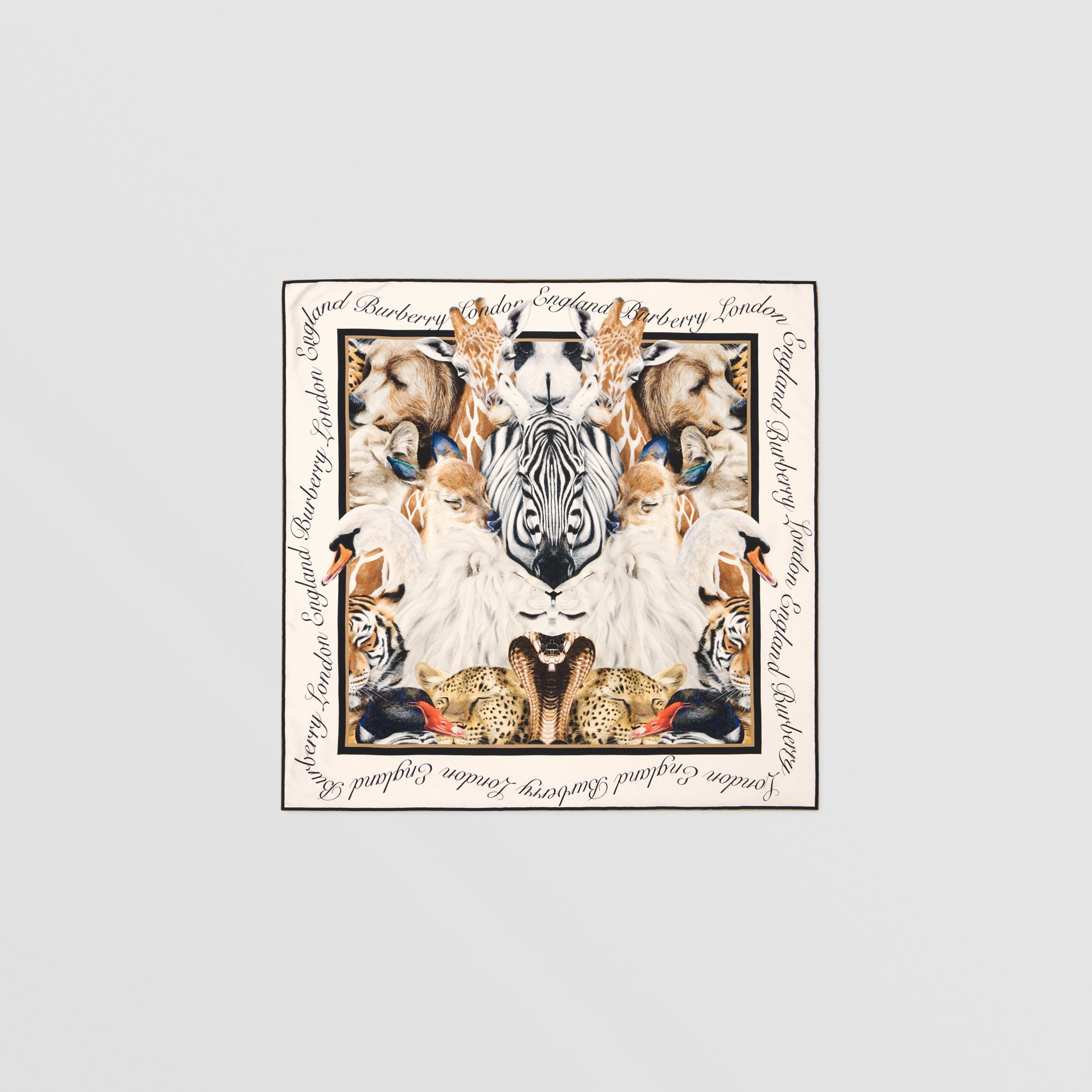Animalia Print Silk Square Scarf in Camel | Burberry Hong Kong S.A.R. - 1