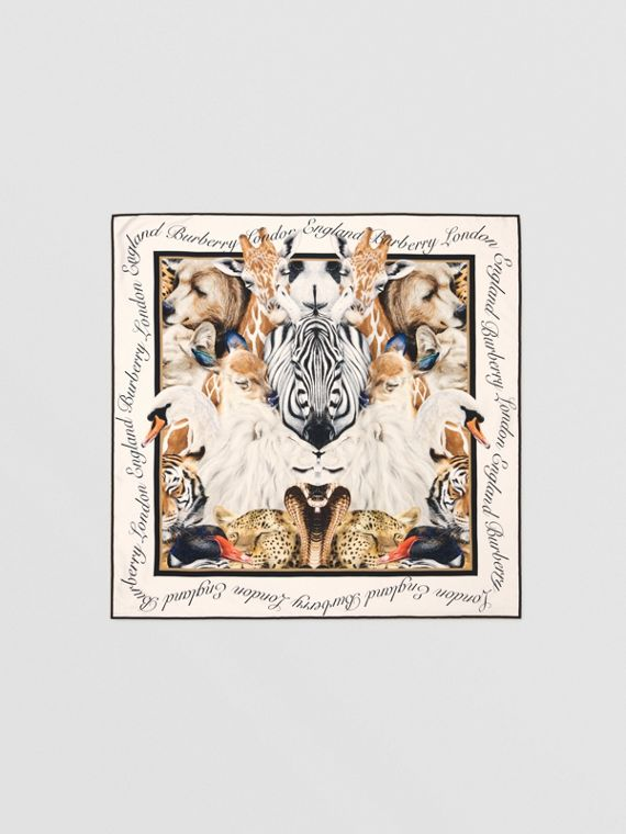 Animalia Print Silk Square Scarf in Camel