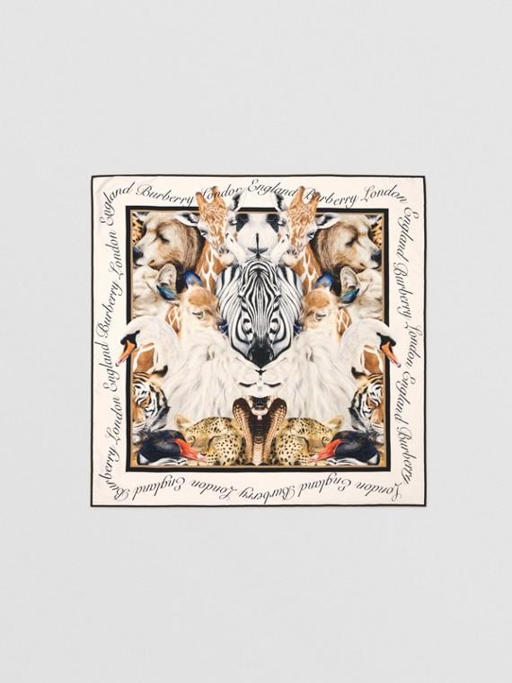 Шелковый платок с принтом Animalia (Песок)