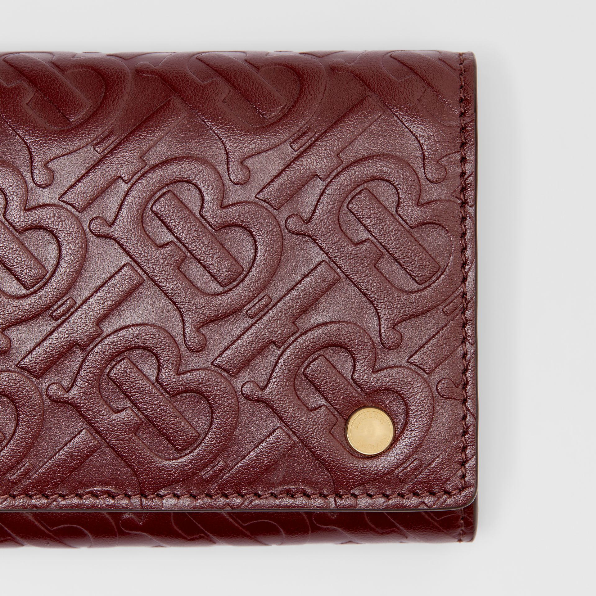 Monogram Leather Continental Wallet in Oxblood - Women | Burberry - gallery image 1