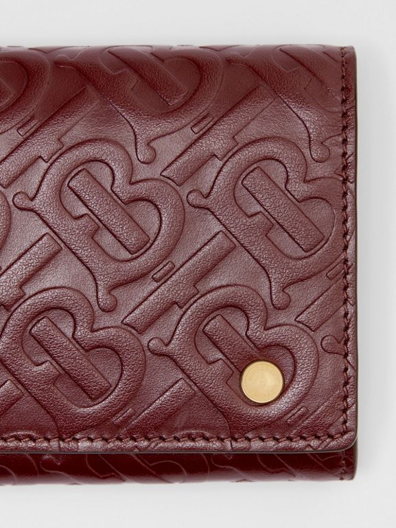 Monogram Leather Continental Wallet in Oxblood - Women | Burberry United Kingdom - cell image 1