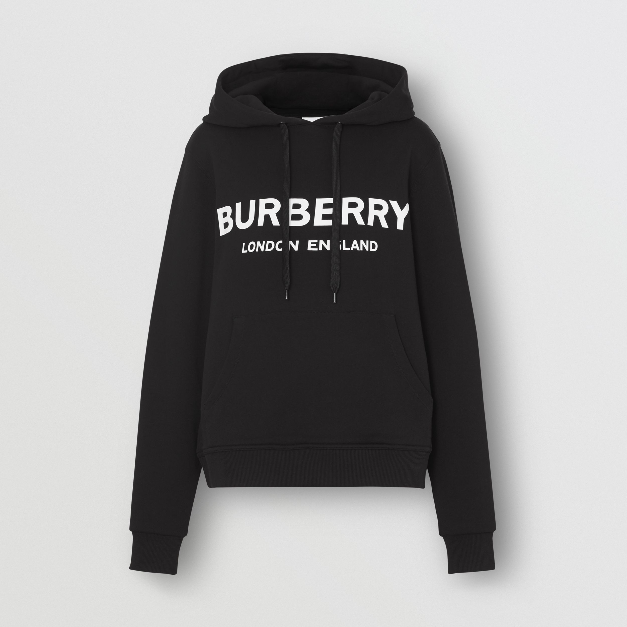 Logo Print Cotton Oversized Hoodie in Black | Burberry - 4
