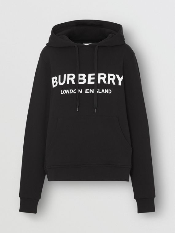 Logo Print Cotton Hoodie in Black