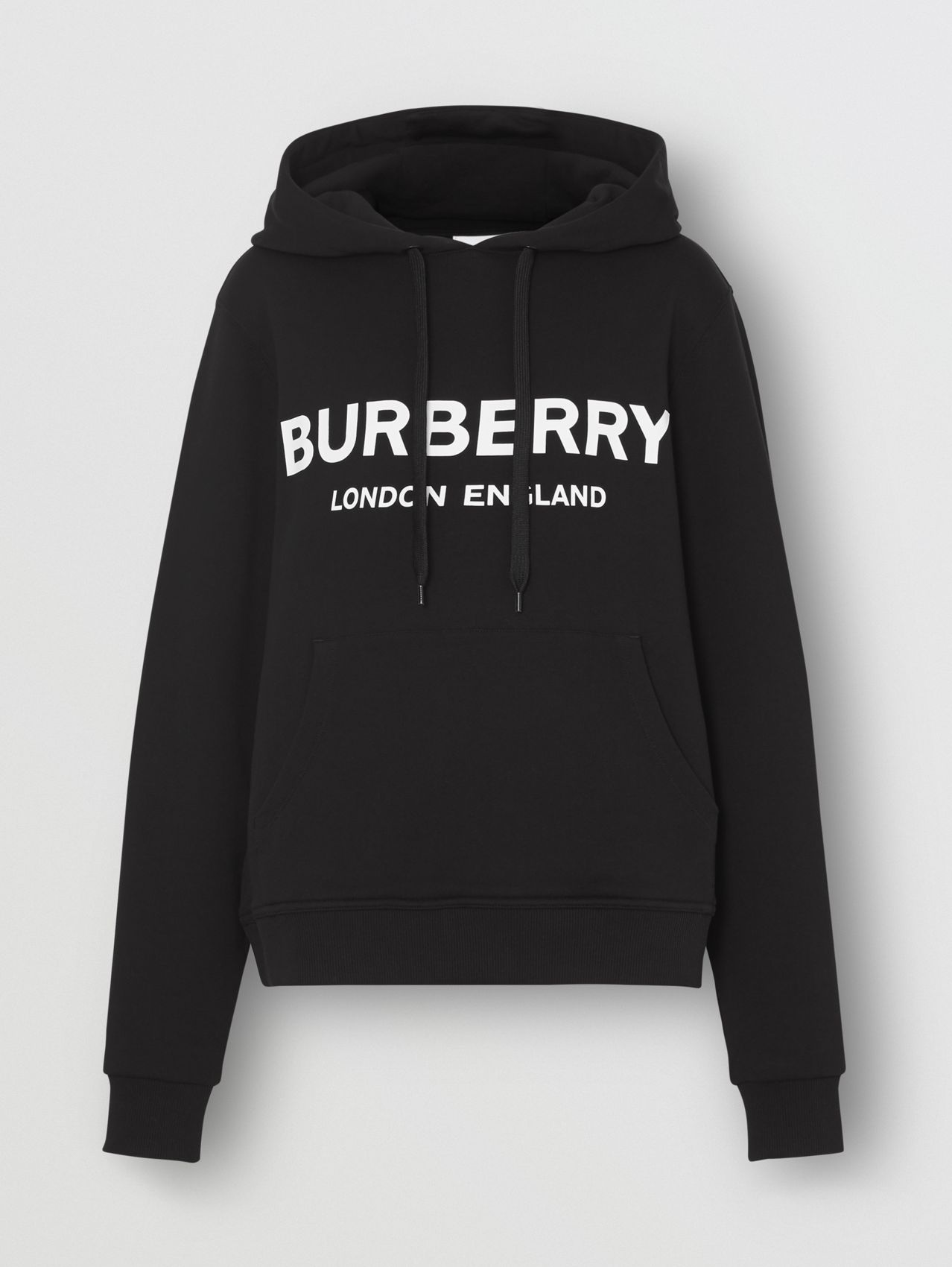 Logo Print Cotton Oversized Hoodie in Black