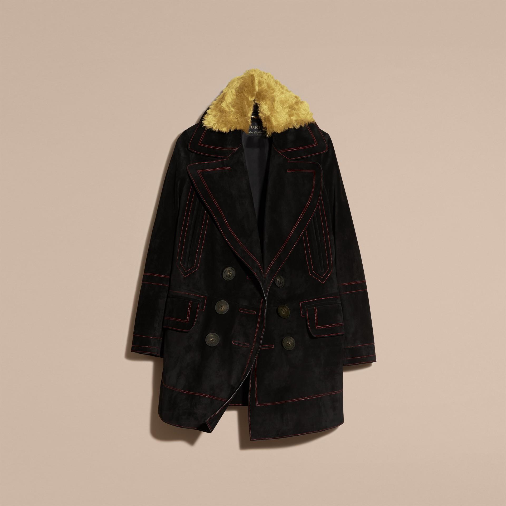 Preto Pea coat de camurça com colarinho de shearling - galeria de imagens 4