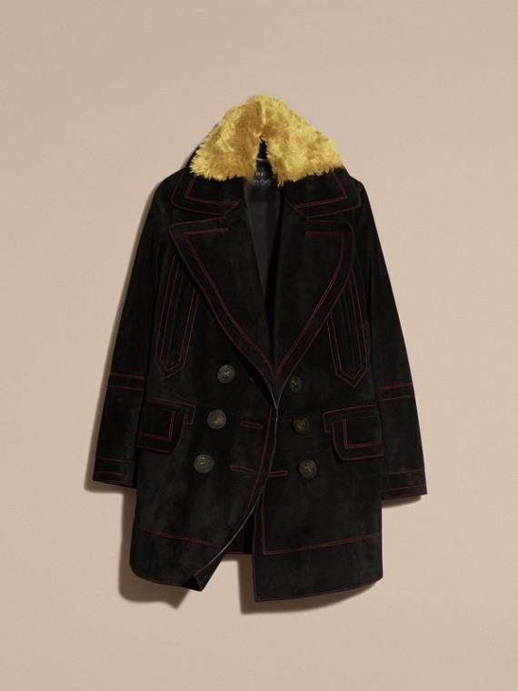 Preto Pea coat de camurça com colarinho de shearling - cell image 3