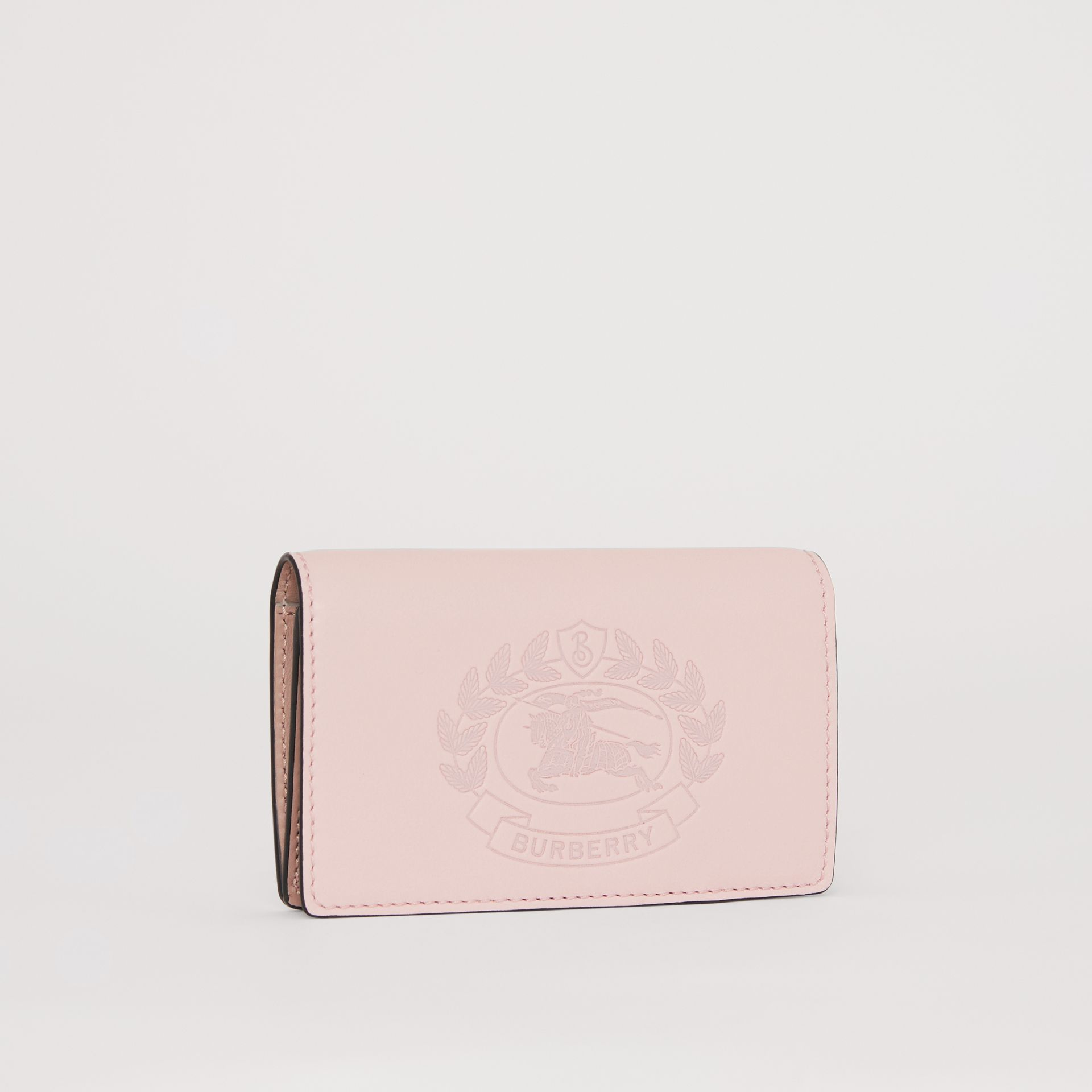 Small Embossed Crest Two-tone Leather Wallet in Chalk Pink - Women | Burberry Australia - gallery image 3