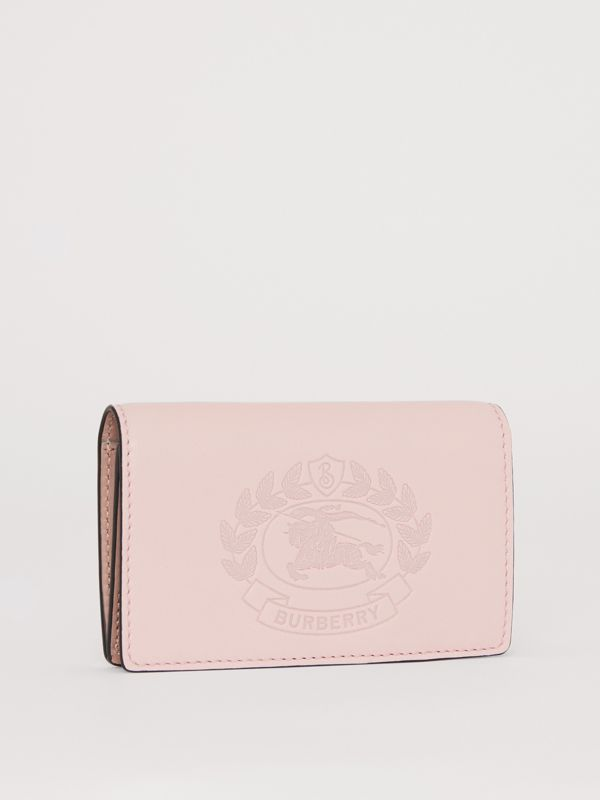 Small Embossed Crest Two-tone Leather Wallet in Chalk Pink - Women | Burberry United States - cell image 3