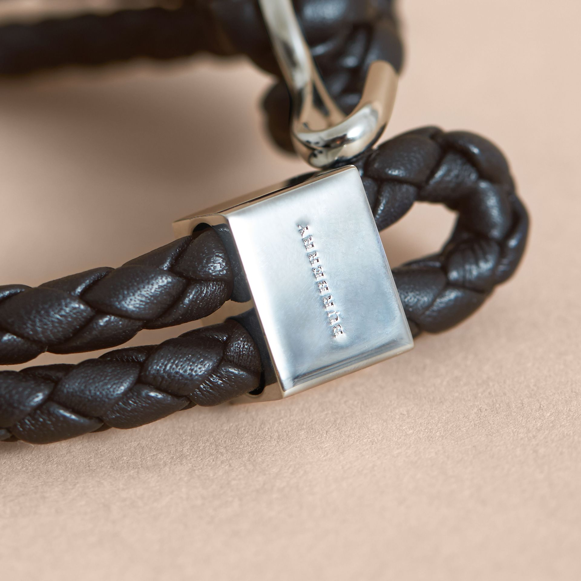 Braided Leather Bracelet Black - gallery image 2