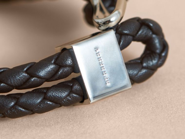 Braided Leather Bracelet Black - cell image 1