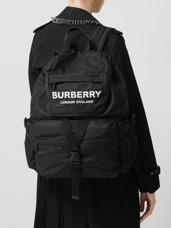 Logo Print Nylon Backpack in Black - Women | Burberry - cell image 2