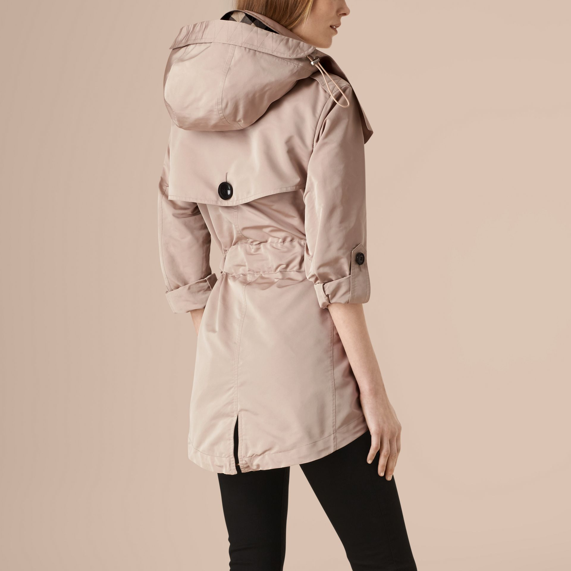 Stone Showerproof Trench Coat with Detachable Hood - gallery image 3