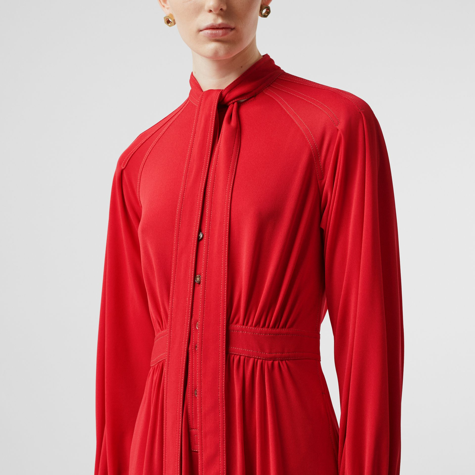 Topstitch Detail Jersey Tie-neck Dress in Bright Red - Women | Burberry Australia - gallery image 4