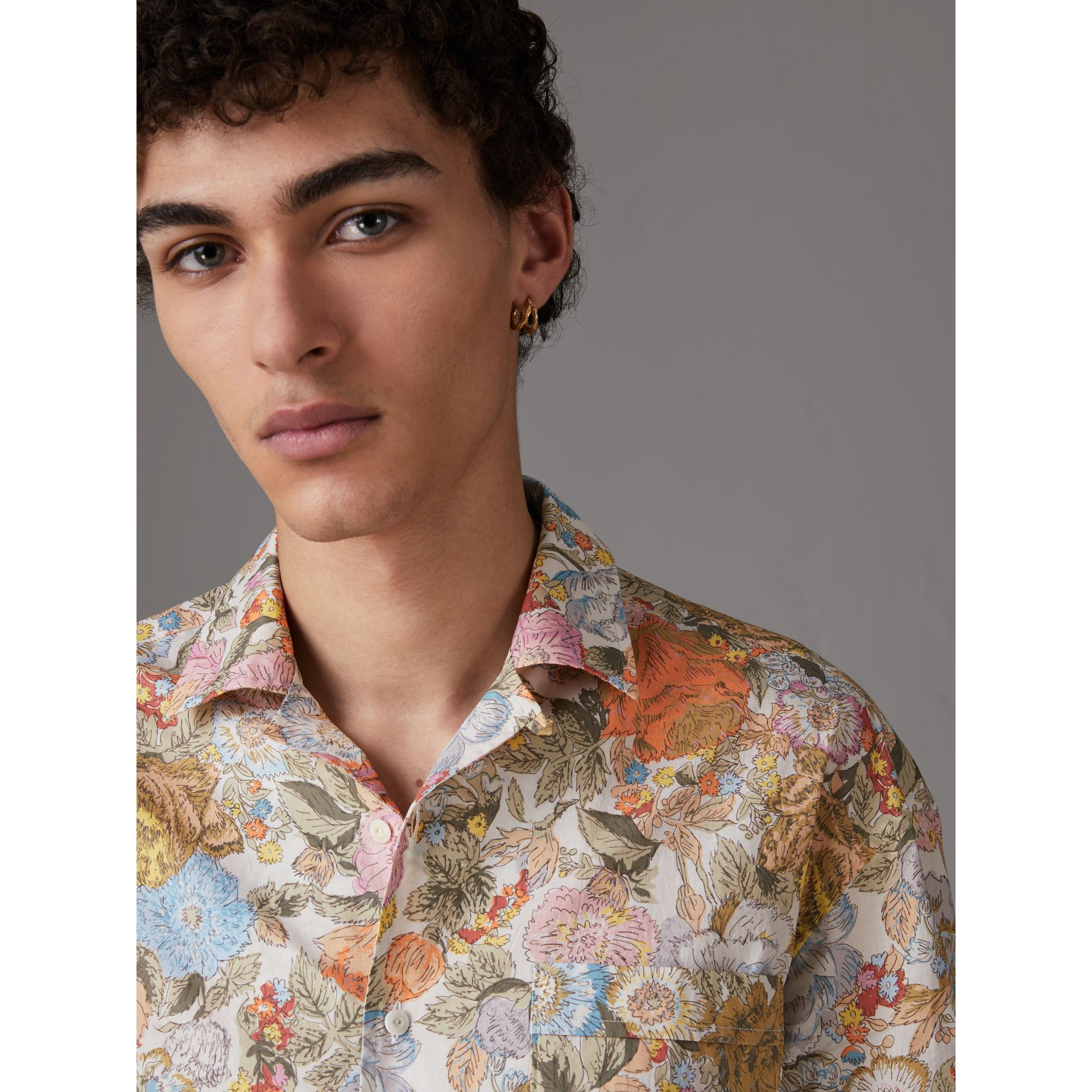 Short-sleeve Floral Print Cotton Shirt in Bright Orange - Men | Burberry - gallery image 1