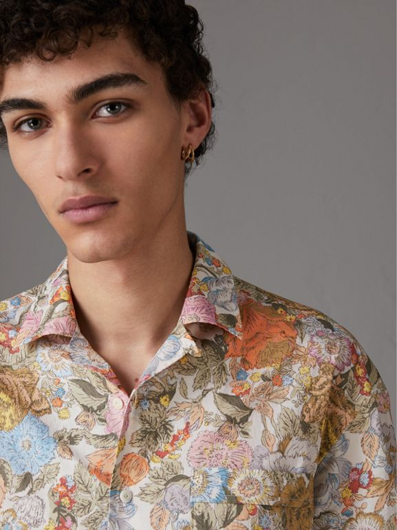 Short-sleeve Floral Print Cotton Shirt in Bright Orange - Men | Burberry Hong Kong - cell image 1