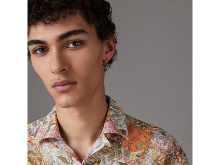 Short-sleeve Floral Print Cotton Shirt in Bright Orange - Men | Burberry United Kingdom - cell image 1