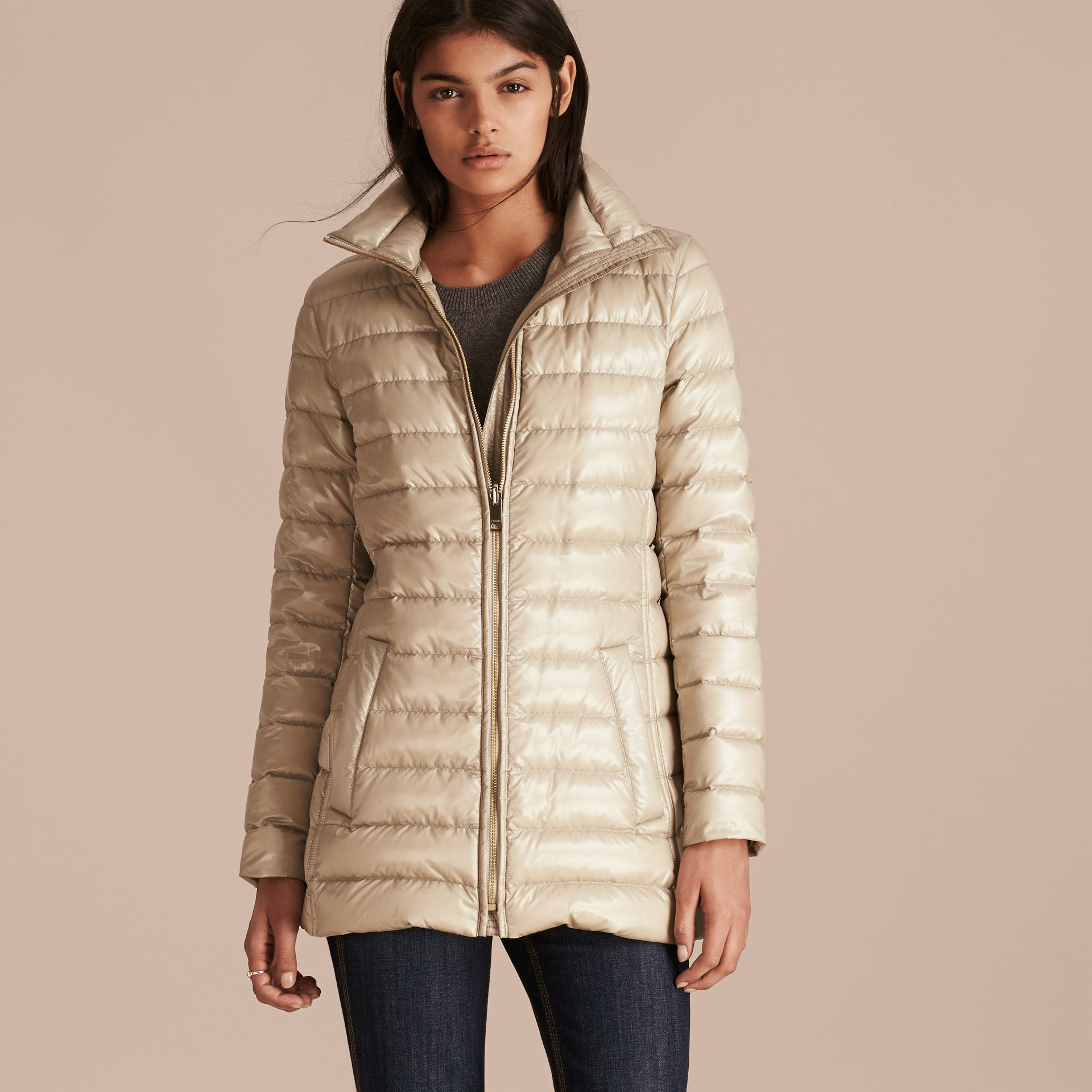 Fur-trimmed Parka with Detachable Down-filled Jacket in Sisal - gallery image 3