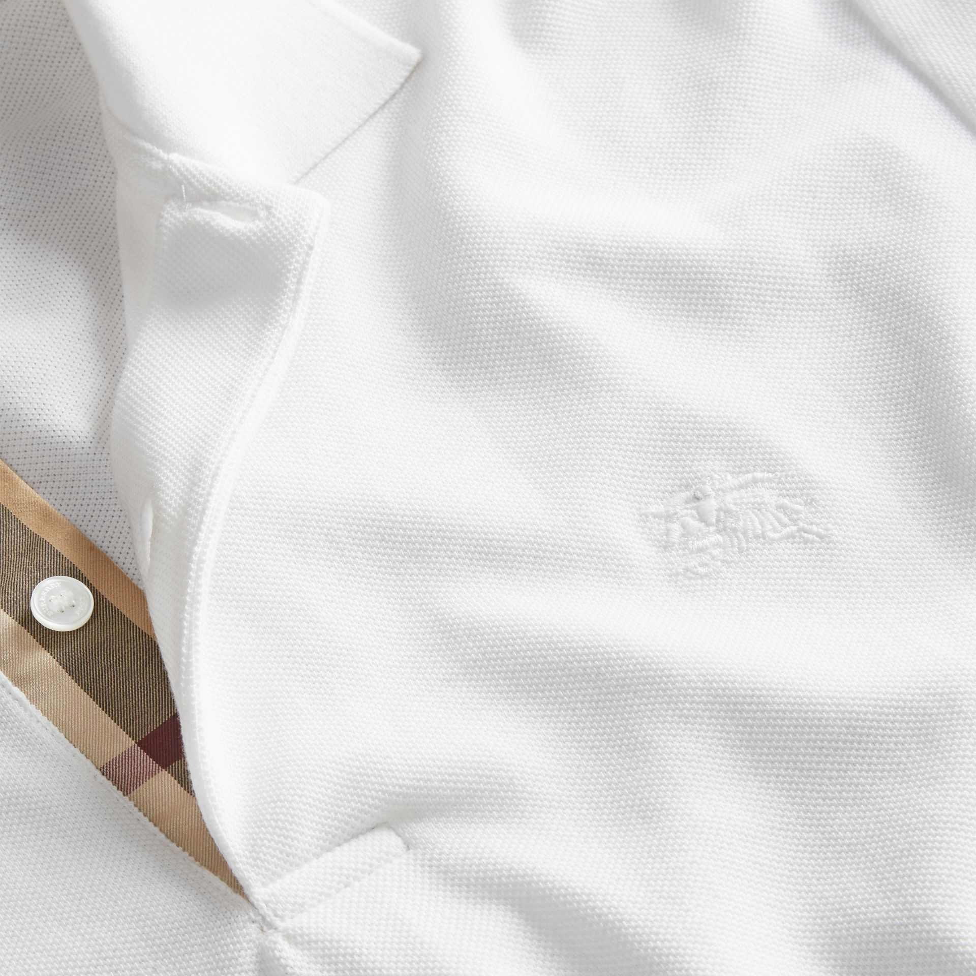 Check Placket Cotton Piqué Polo Shirt in White - gallery image 2