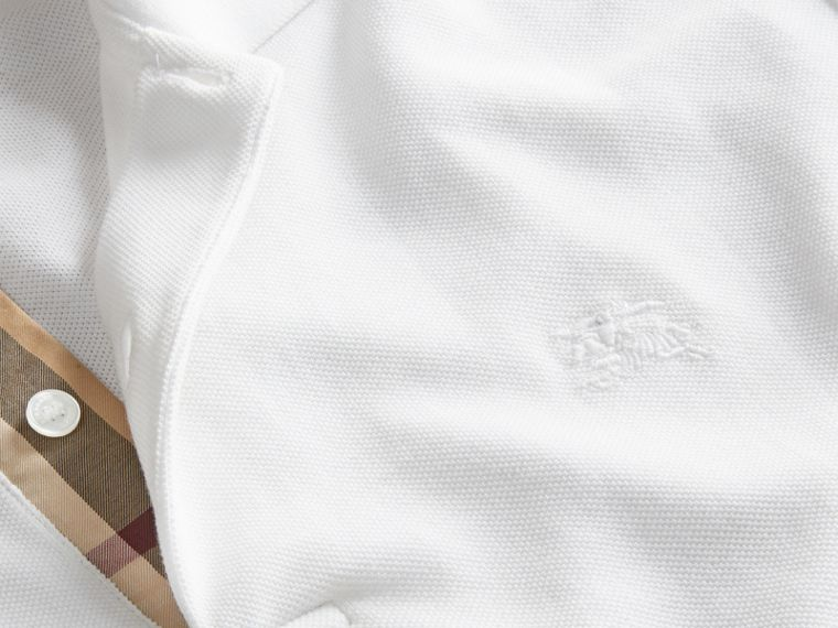 Check Placket Cotton Piqué Polo Shirt in White - cell image 1