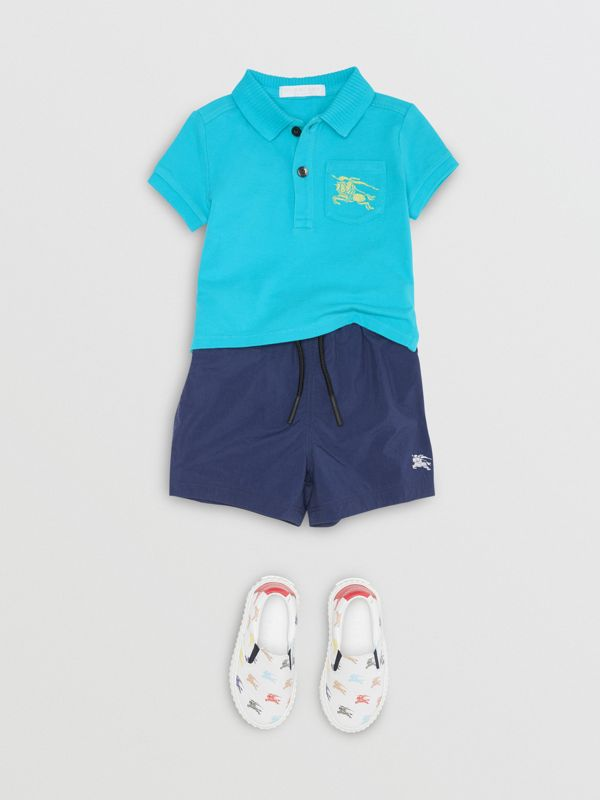 EKD Logo Cotton Piqué Polo Shirt in Bright Cyan Blue - Children | Burberry - cell image 2