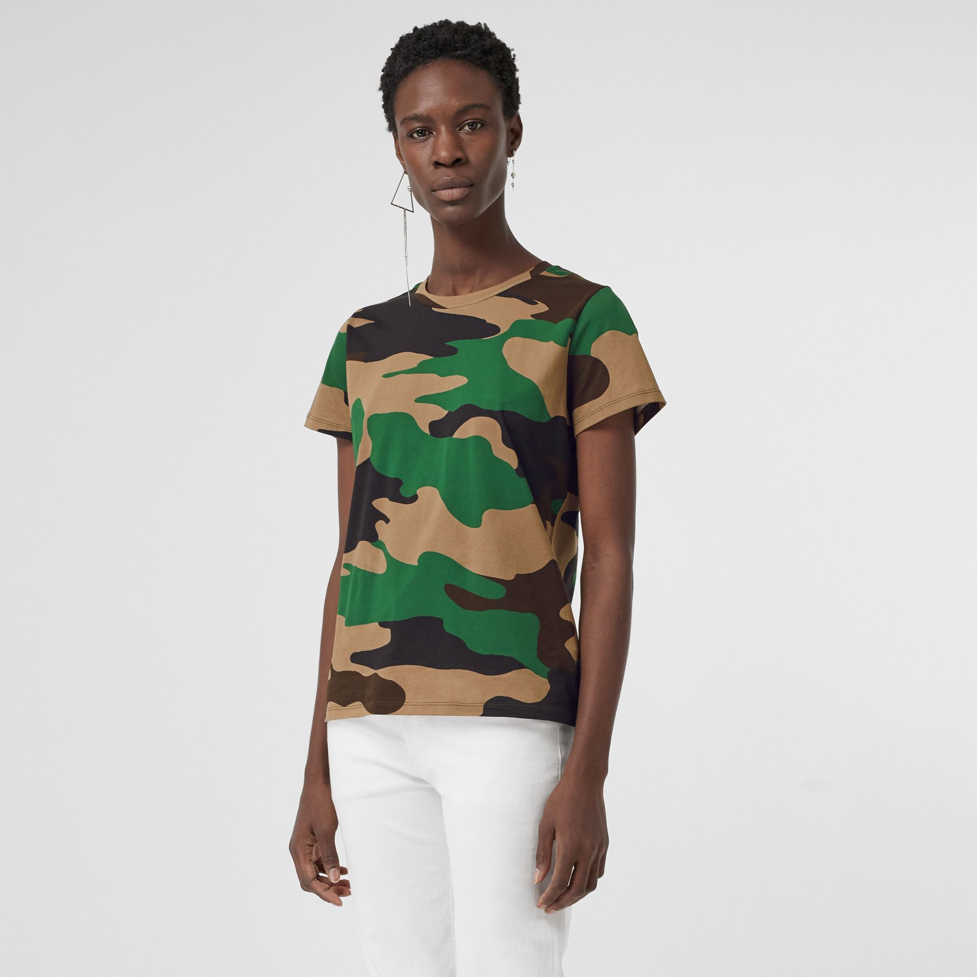 Camouflage Print Cotton Jersey T-shirt in Forest Green - Women | Burberry Singapore - gallery image 0