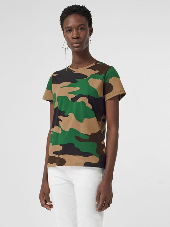 Camouflage Print Cotton Jersey T-shirt in Forest Green