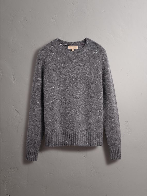 Wool Cashmere Mohair Tweed Sweater in Dark Grey Melange - Men | Burberry - cell image 3