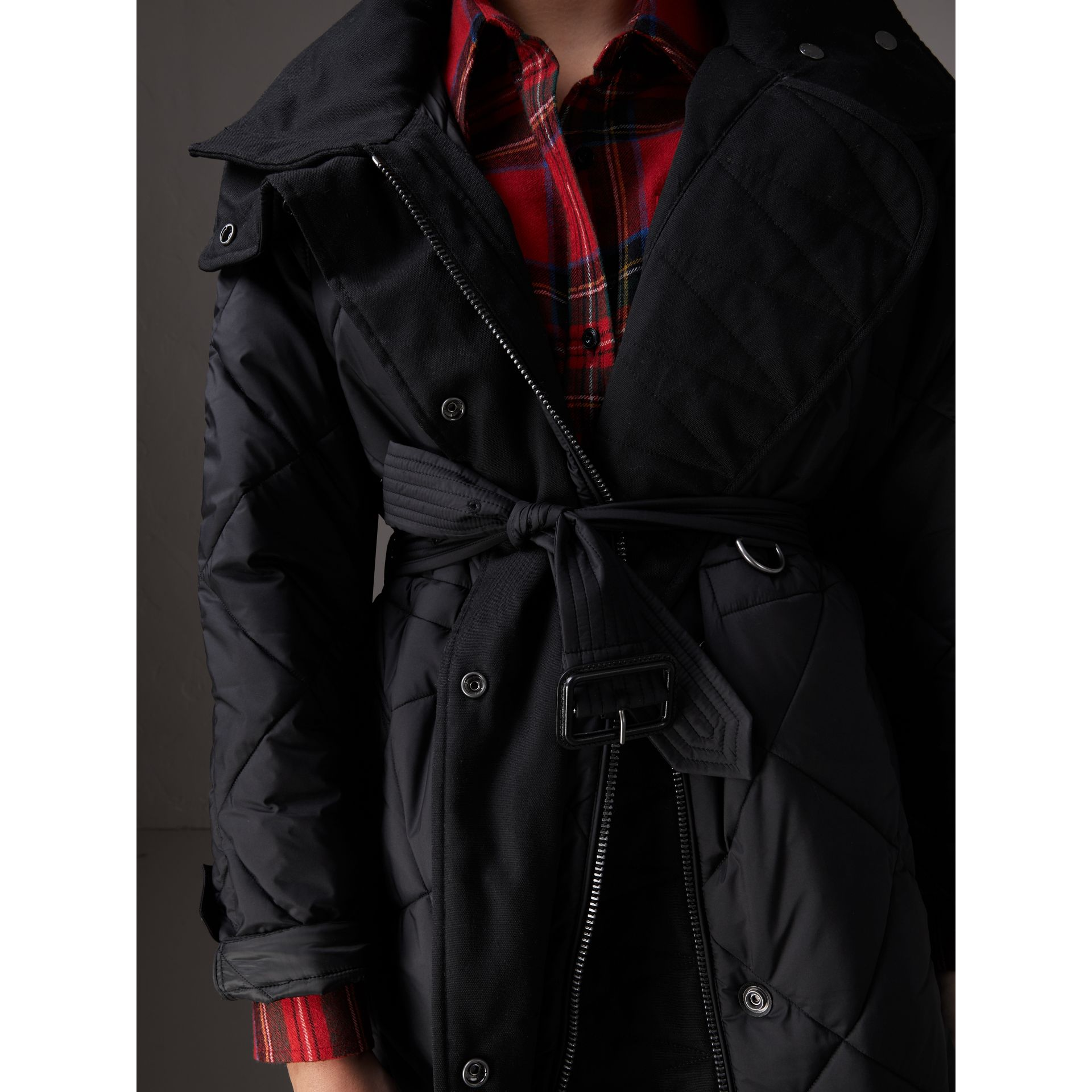 Packaway Hood Diamond Quilted Coat in Black - Women | Burberry Canada - gallery image 4