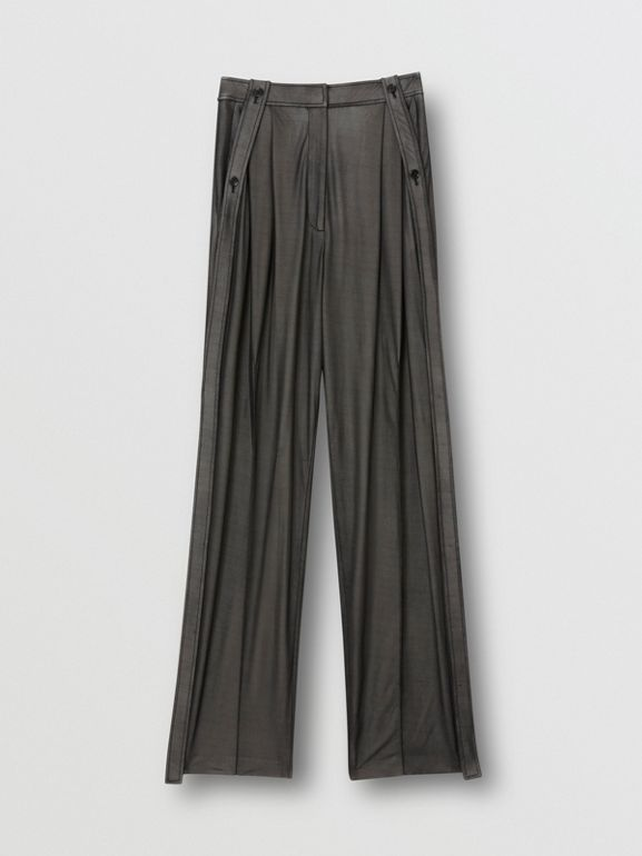 Strap Detail Chiffon and Jersey Tailored Trousers in Black - Women | Burberry - cell image 1