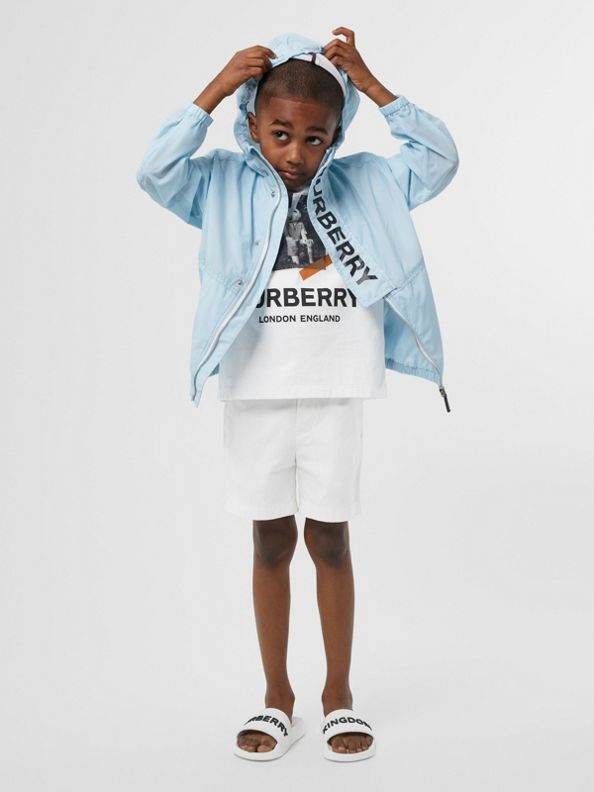 Logo Print Lightweight Hooded Jacket in Light Blue