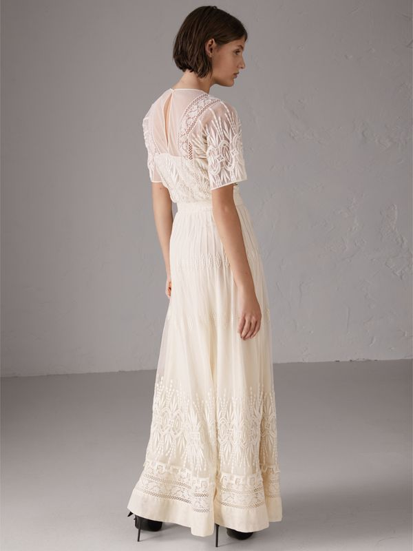 Embroidered Tulle Dress in Natural White - Women | Burberry United Kingdom - cell image 2