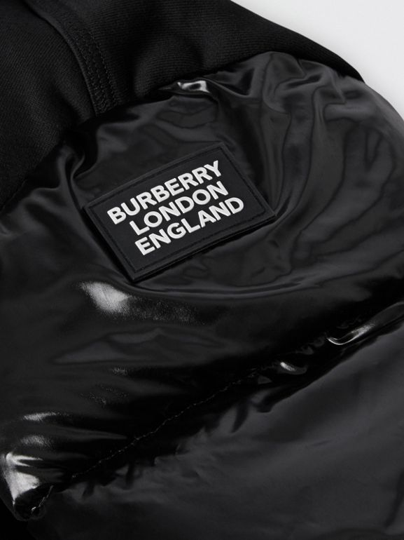 Puffer Sleeve Kingdom Print Cotton Hooded Top in Black | Burberry United States - cell image 1