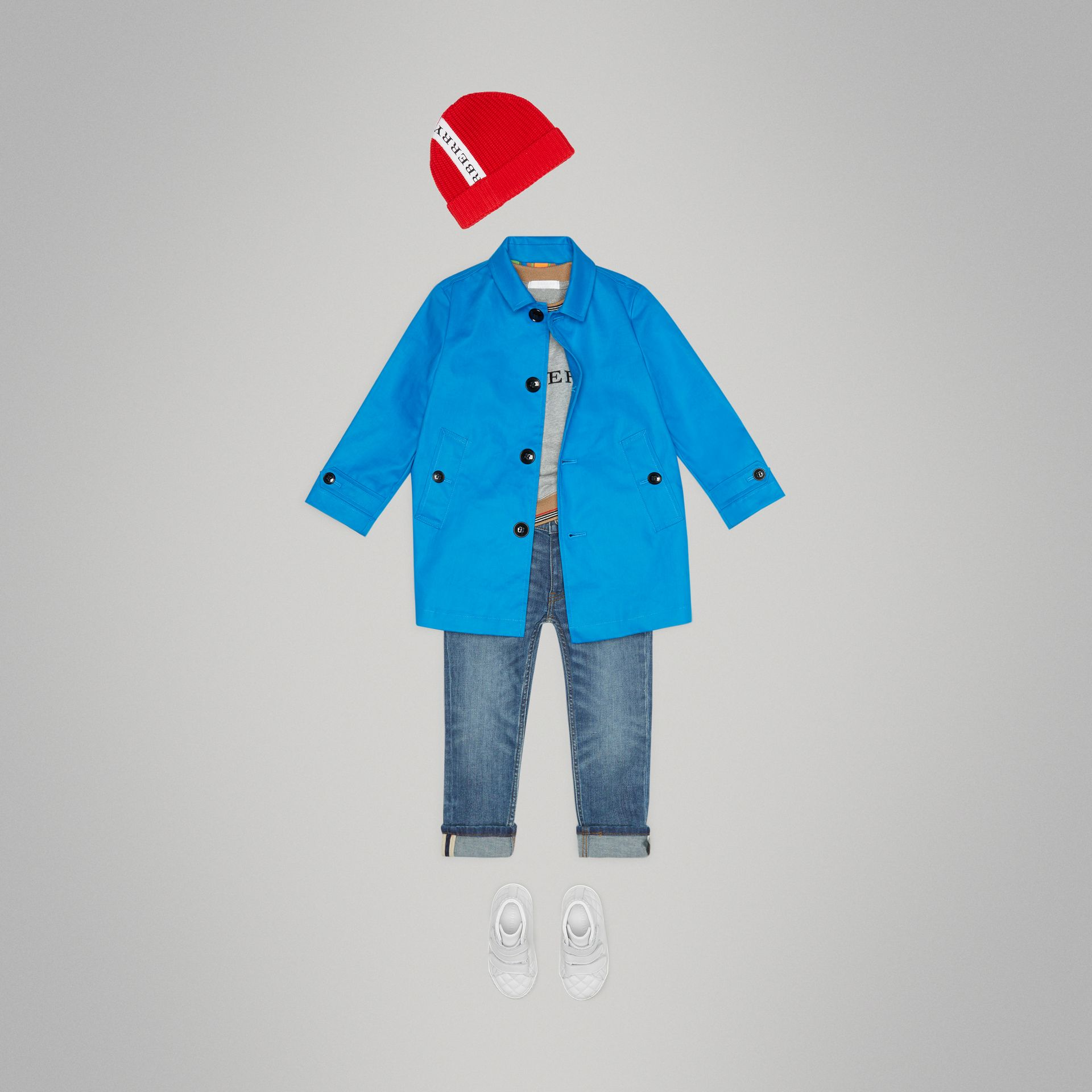 Cappotto car coat in cotone doppiato mercerizzato (Blu Intenso) | Burberry - immagine della galleria 3