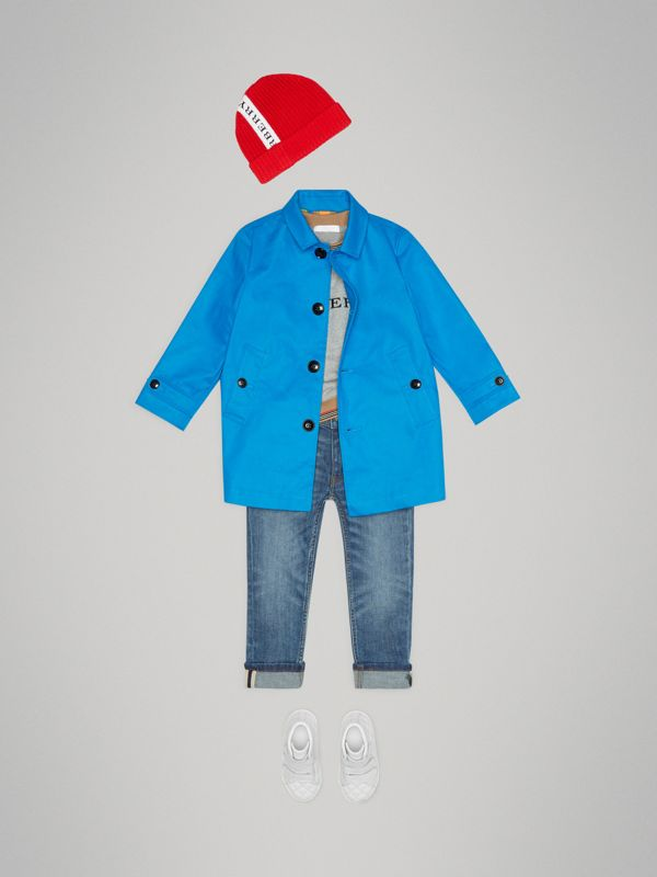 Mercerised Bonded Cotton Car Coat in Bright Blue | Burberry United Kingdom - cell image 3