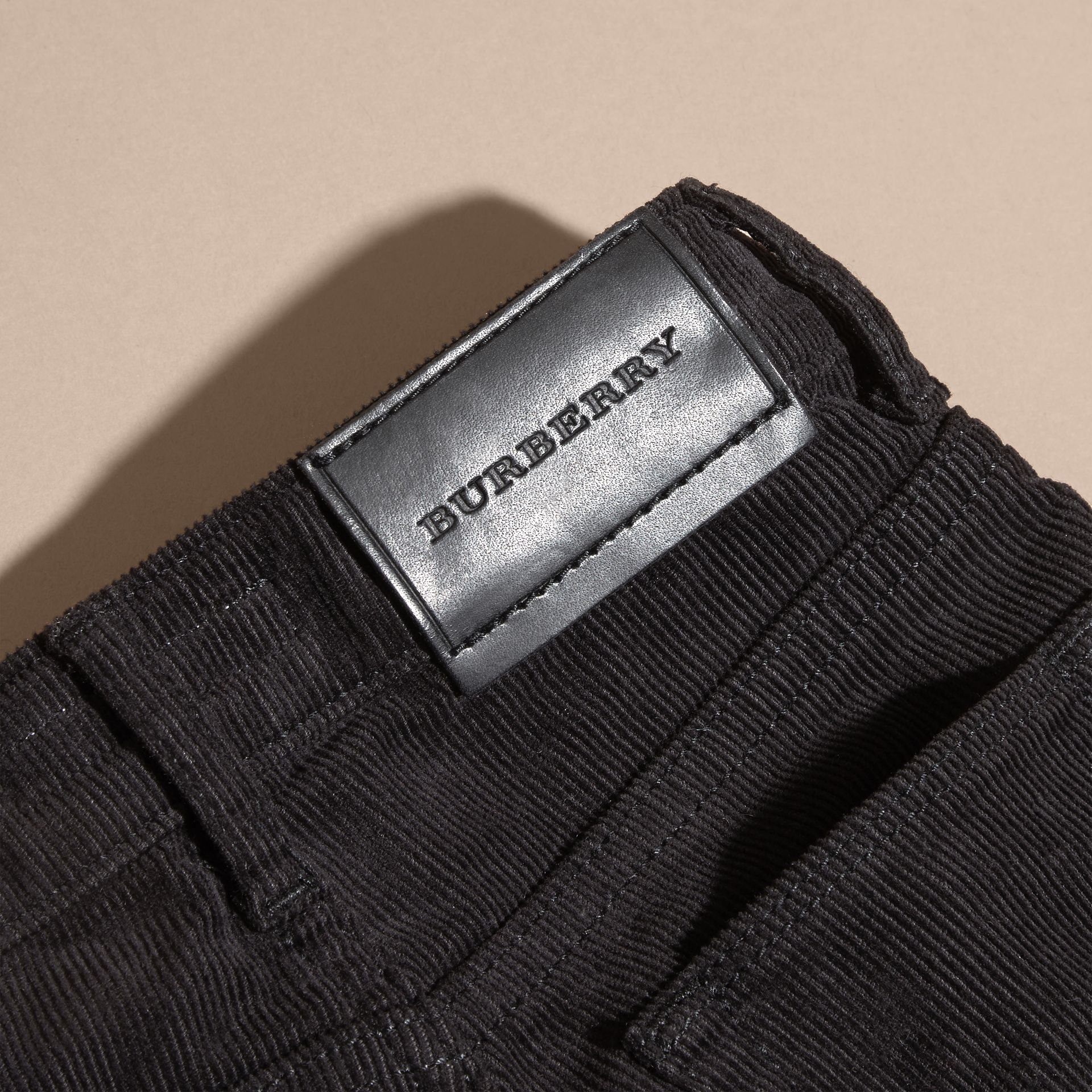 Stretch Corduroy Jeans in Black | Burberry Singapore - gallery image 1