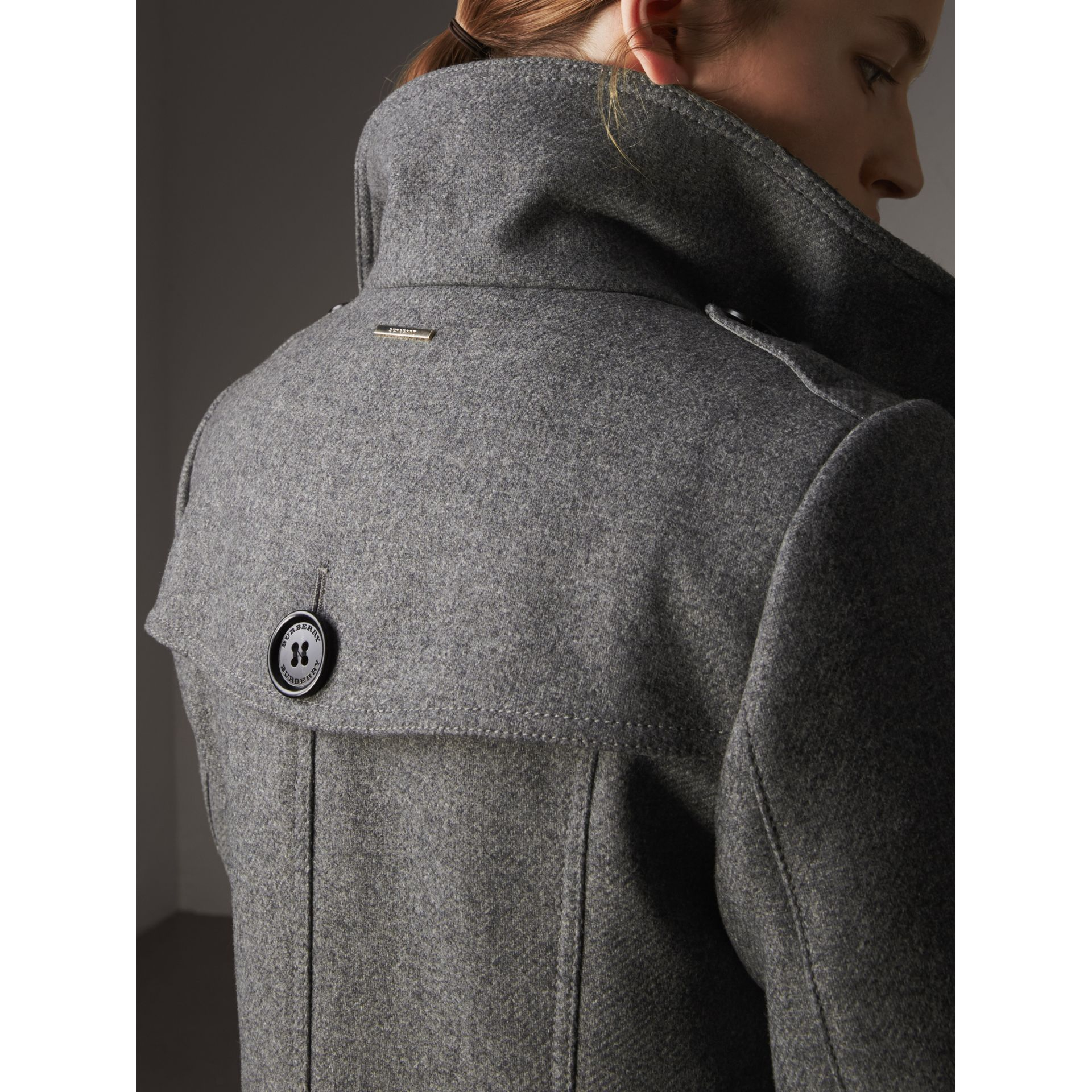 Technical Wool Cashmere Funnel Neck Coat in Steel Grey Melange - Women | Burberry - gallery image 2